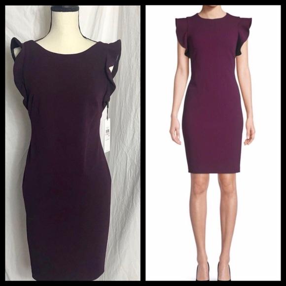 84504ae3 Calvin Klein Dresses | Purple Ruffle Sleeve Sheath Dress | Poshmark